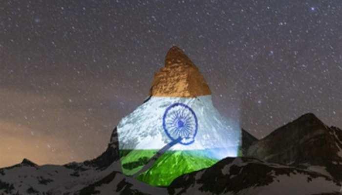 भारत की जीत दिखी स्विट्ज़रलैंड की तिरंगा-पहाड़ी पर