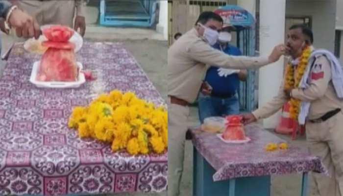 रायसेन: पुलिस जवान के बर्थडे पर नहीं मिला केक, साथियों ने ऐसे किया खुश