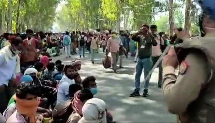 यूपी-हरियाणा बॉर्डर पर मजदूरों का हंगामा, बिहार बॉर्डर तक बसों से भेजने की तैयारी
