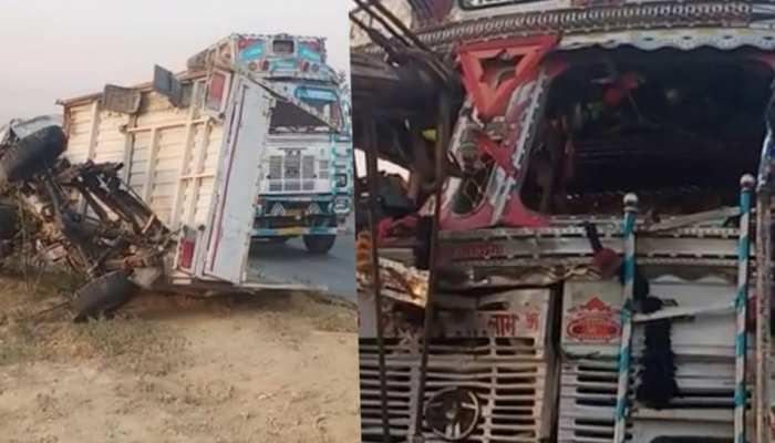 इटावा में पिकअप और ट्रक के दरमियान भयानक हादसा, 6 किसानों की मौत