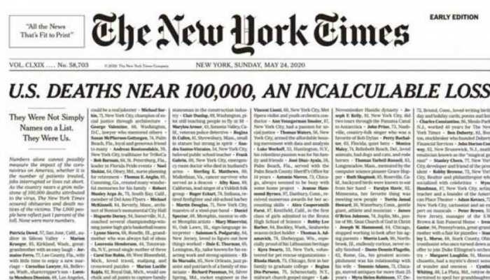 कोरोना वायरस पीड़ितों को न्यूयॉर्क टाइम्स की अनोखी श्रद्धांजलि, पूरे फ्रंट पेज पर छापे मृतकों के नाम