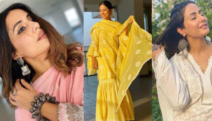 Hina Khan look beautiful in traditional salwar kurta look