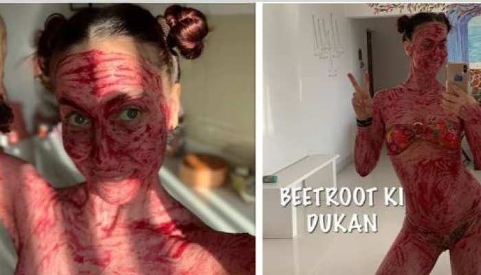 elli avram became beetroot girl and apply beet all over the body