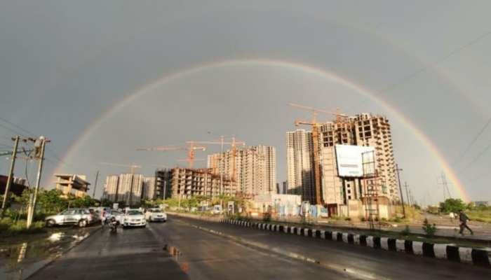 rainbows formed in sky Delhi NCR surrounding areas