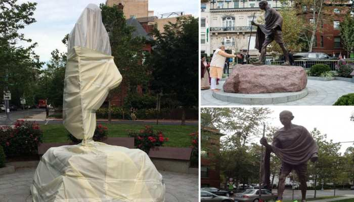 अमेरिका में मुज़ाहिरीन ने महात्मा गांधी के मुजस्समे से की छेड़-छाड़, US ने मांगी माफी