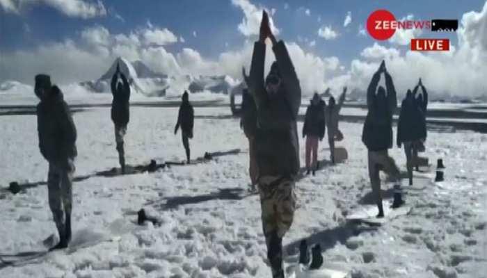 International Yoga Day 2020: ITBP jawans Perform yoga at Ladakh at an altitude of 18000 feet