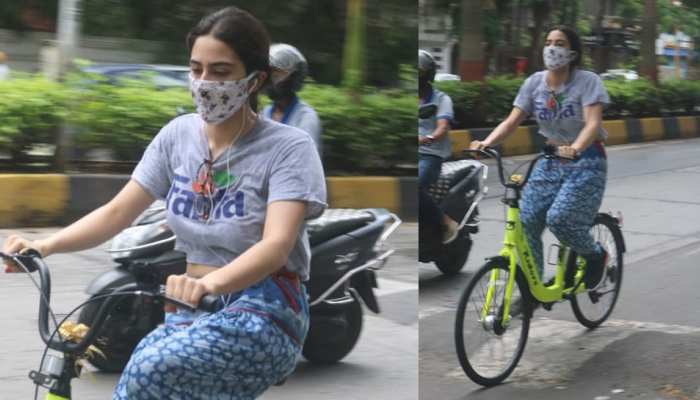 Sara Ali Khan Cycling On Mumbai Streets See Photo