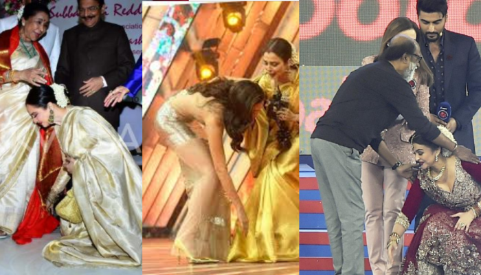 Bollywood actress does not hesitate to touch the feet of the elders