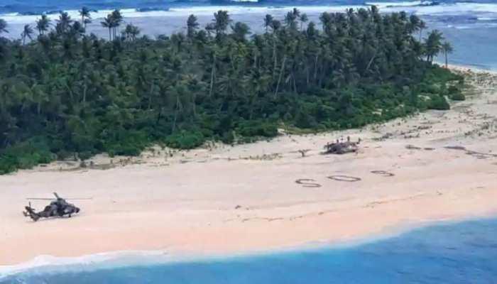 निर्जन टापू पर फंसे 3 लोग, रेत पर बनाया ऐसा निशान कि बच गई जान