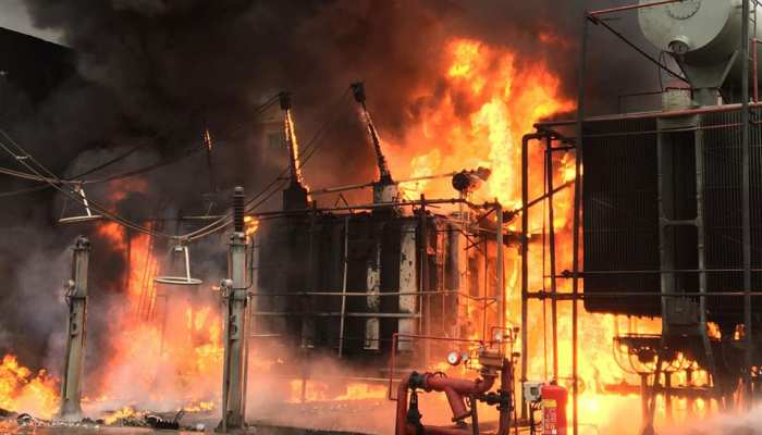 Noida: Heavy fire in NPCL power station, efforts continue to extinguish even after hours