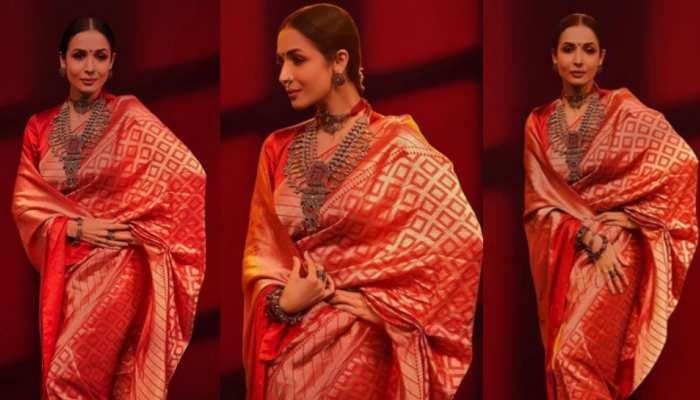 Malaika Arora seen in red colour banarasi saree look viral