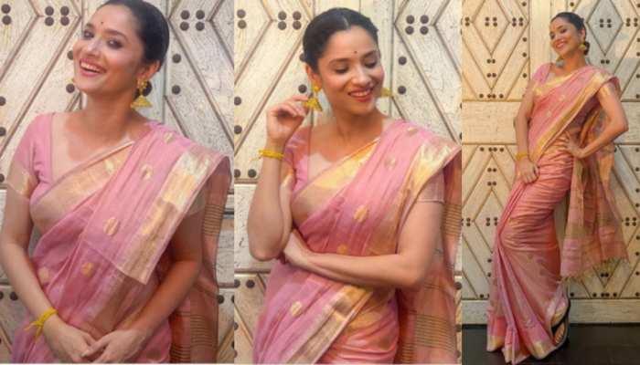 Ankita Lokhande looks beautuful in pink saree