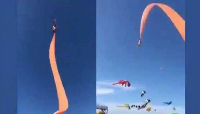 पतंग के साथ हवा में उड़ी 3 साल की मासूम, देखिए हैरान करने वाला वीडियो