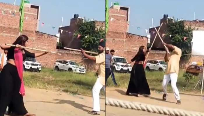 'लिट्टी चोखा' सेट पर जब डंडा लेकर एक दूसरे से भिड़े खेसारीलाल और काजल- VIDEO