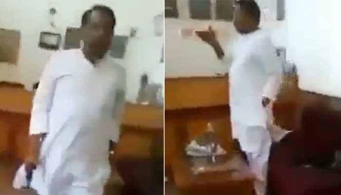 BJP के बिसाहूलाल का वीडियो वायरल, हाथों में पिस्तौल लेकर नौकर को दे रहे हैं गालियां