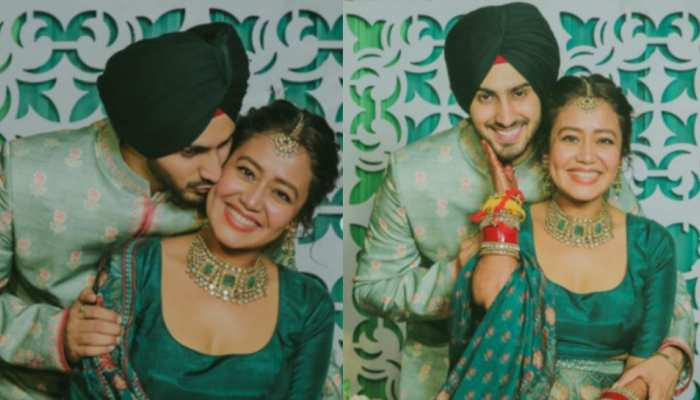 neha kakkar and rohanpreet dressed up in all green for their mehendi ceremony