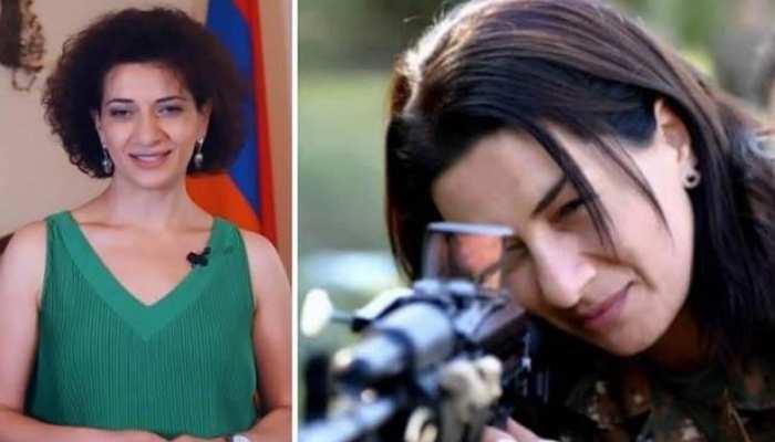 अजरबैजान से मुकाबले के लिए अर्मेनियाई प्रधानमंत्री की पत्नी ने उठाई बंदूक
