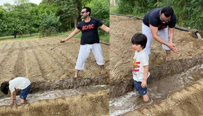पिता Saif Ali Khan के साथ खेती करते दिखे Taimur Ali Khan, देखें PHOTOS