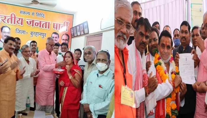 मांधाता, नेपानगर, पोहरी से बीजेपी, ब्यावरा और करेरा से कांग्रेस प्रत्याशी की जीत