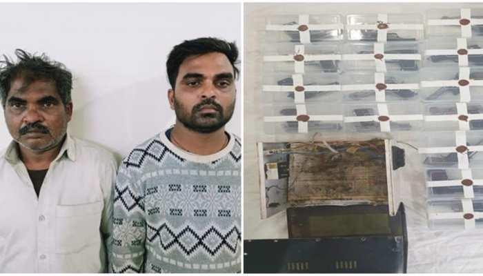 हथियारों की तस्करी के आरोप में बाप-बेटे गिरफ्तार,  22 पिस्टल बरामद