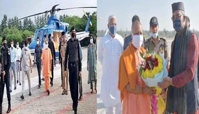 UP मुख्यमंत्री योगी, उत्तराखंड CM रावत के साथ केदारनाथ पहुंचे