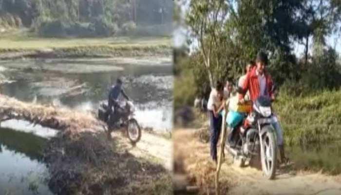 सीतापुर: गांव वालों का कारनामा, 'हौसले' का पुल बनाकर दिखाया सिस्टम को ठेंगा