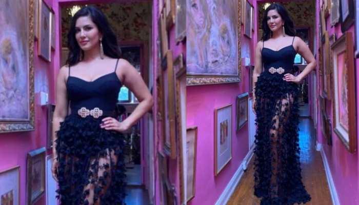 लंबे इंतजार के बाद सेट पर लौटीं Sunny Leone, ब्लैक ड्रेस में दिखीं ग्लैमरस