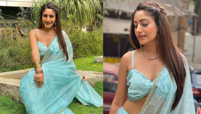 Surbhi Chandna Looking hot in a transparent blue saree