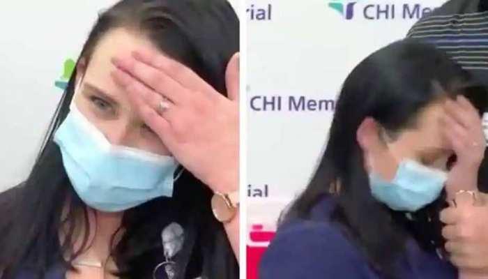 कोरोना वैक्सीन लेने के बाद TV को इंटरव्यू दे रही नर्स अचानक हुई बेहोश, वायरल हुआ VIDEO
