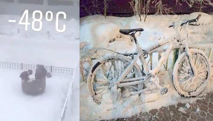 Temperatures sank to minus 48 degrees celsius in Yakutsk of Russia