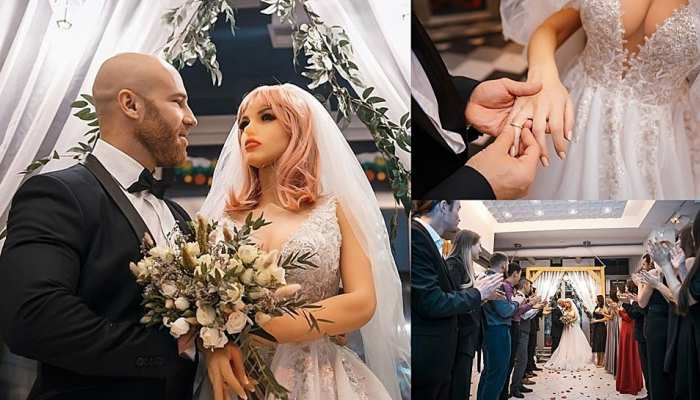 viral photos of bodybuilder who married sex doll