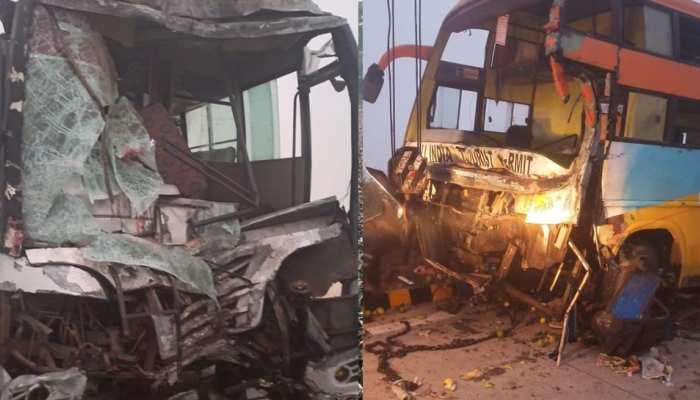 यमुना एक्सप्रेसवे पर भीषण सड़क हादसा, 3 वॉल्वो बस टकराईं, एक की मौत 12 घायल