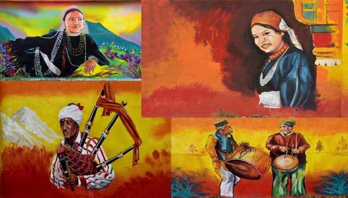 Haridwar Mahakumbh Beautiful wall paintings in the city on CM Trivendra Rawat instructions reflecting Uttarakhand Culture upns