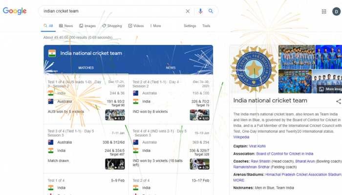 Google पर Indian Cricket Team सर्च करते ही फूटने लगते हैं डिजिटल पटाखे, आप भी करें सर्च