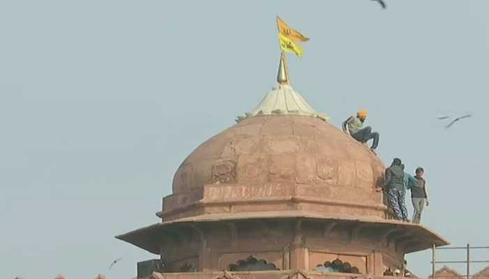 Farmers Flag Off two flags at the Red Fort lal qila