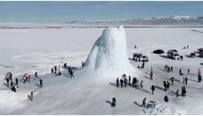kazakhstan ice volcano attracts tourists as hot lava turns into frozen ice