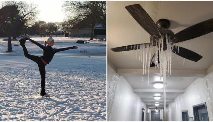 America के Texas में आया भयंकर बर्फीला संकट, घरों के अंदर पंखों तक पर जमी बर्फ