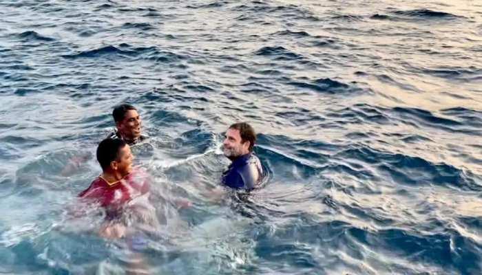 जब Rahul Gandhi ने समुद्र में लगाई डुबकी, VIDEO हो रहा वायरल