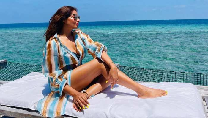 Bipasha Basu takes sun bath at beach on maldives vacation