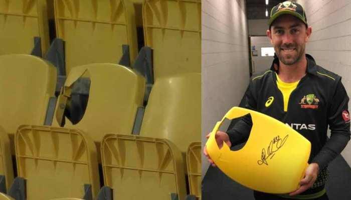 AUS vs NZ: Glenn Maxwell के जोरदार शॉट्स ने मचाई 'तोड़-फोड़', स्टेडियम की कुर्सी का बुरा हाल