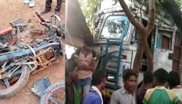 बेकाबू हुआ गिट्टा लदा ट्रक, बाइक को मारी टक्कर, फिर महिला और बच्ची को कुचला, 4 की मौत