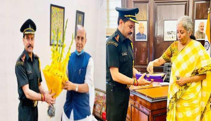 अनुराग ठाकुर की हुई पदोन्नति कैप्टन बनने पर रक्षा मंत्री से की मुलाकात मुंह मीठा करवाया