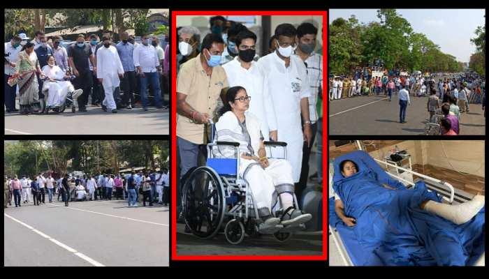 west bengal election 2021 mamta didi wheel chair politics see photos