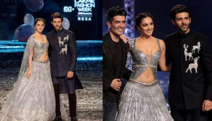 lakme fashion week 2021 kiara advani and kartik aryan ramp walk with manish malhotra see photos