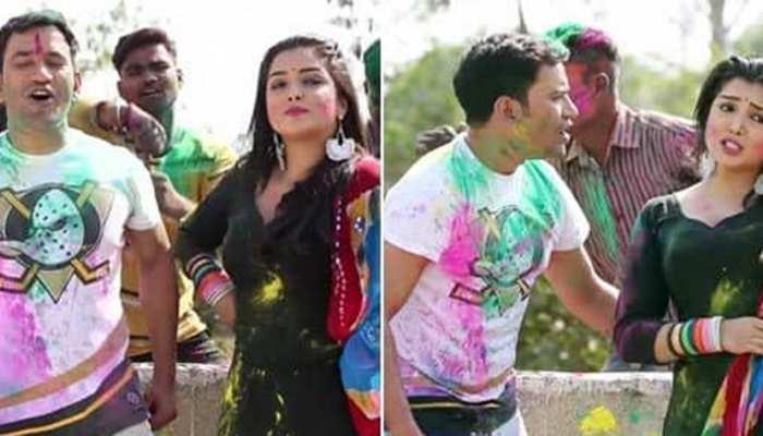 फिर वायरल हुआ निरहुआ-आम्रपाली का गाना Holi Mein GST Jor Ke, देखिए VIDEO