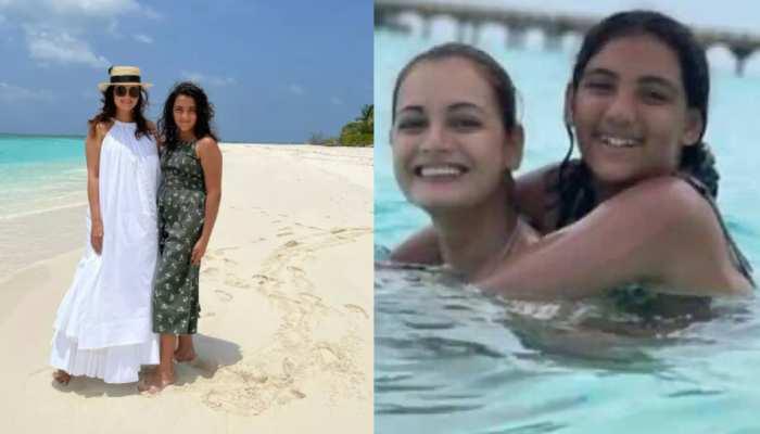Honeymoon Pics: सौतेली बेटी के साथ समंदर में मस्ती करती दिखीं Dia Mirza