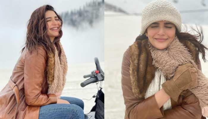 Karishma Tanna on vacation in kashmir shares photos from snow wearing winter wear