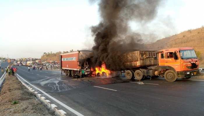 Udaipur News : NH 8 पर खड़े ट्रक की कंटेनर से भीषण भिड़ंत, ड्राइवर-खलाशी जिंदा जले