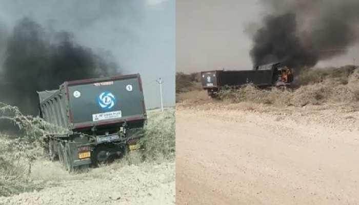 Jaisalmer में माल ढुलाई पर विवाद, ट्रकों पर पथराव, एक ट्रक को जलाया