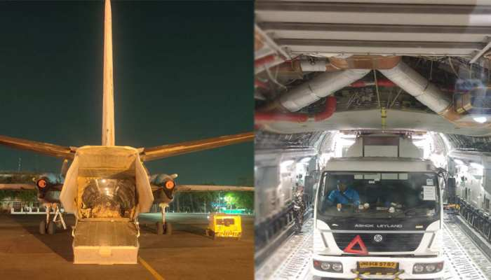 india oxygen cylinder aircraft airlifted from air force see photos of railways and airforce mpsn